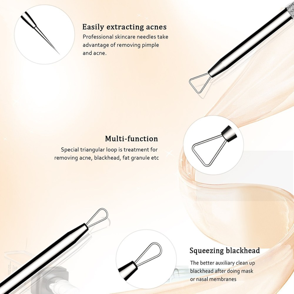 medium resolution of blackhead remover tool kit comedone whitehead extractor pimple blemish 5pcs