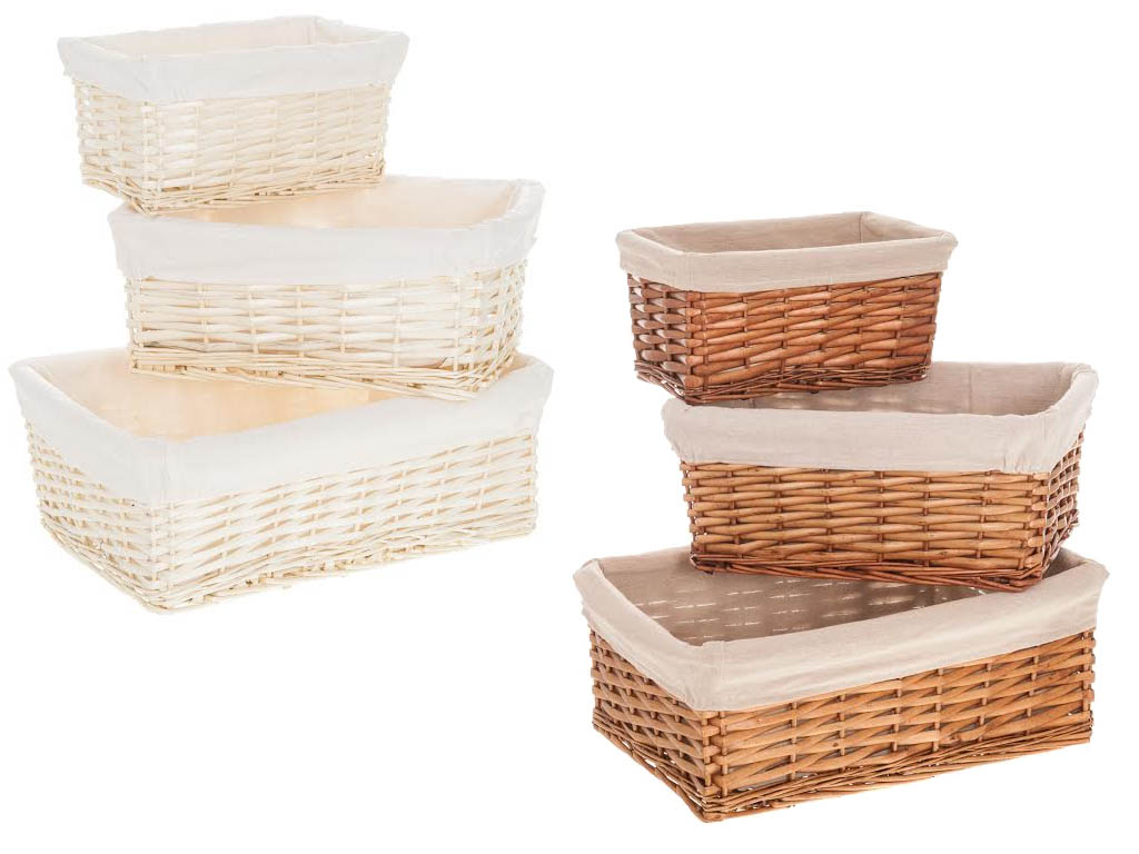 Wicker Willow Storage Basket Hamper With Lining In Small Medium Large Xmas Gift Ebay