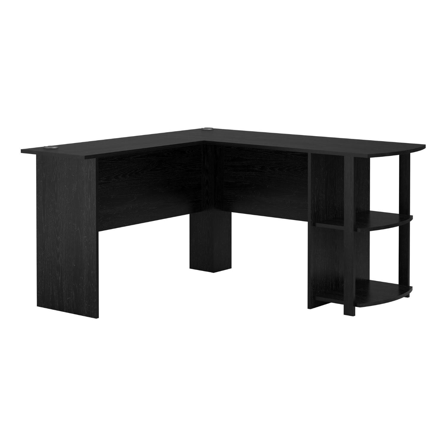 LIVIVO LSHAPE BLACK OFFICE COMPUTER DESK WITH BOOK