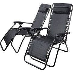 Padded Zero Gravity Chair Rv Captain Chairs For Sale Livivo Black 3 Pc And Table Set Garder Recliner Sun Lounger Summer 5053878513245 ...