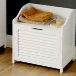 White Wood Bathroom Towel Storage Chest Laundry Bin Box Double Shutter Slatted 5018705528465 Ebay