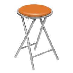 Folding Chair Yellow Lift Chairs Rental Round Shaped Stool In Veneer White Black Purple