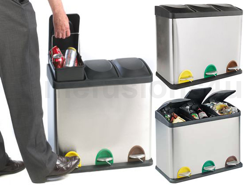 60L LITRE S/STEEL 3 COMPARTMENT RECYCLING BIN PEDAL WASTE