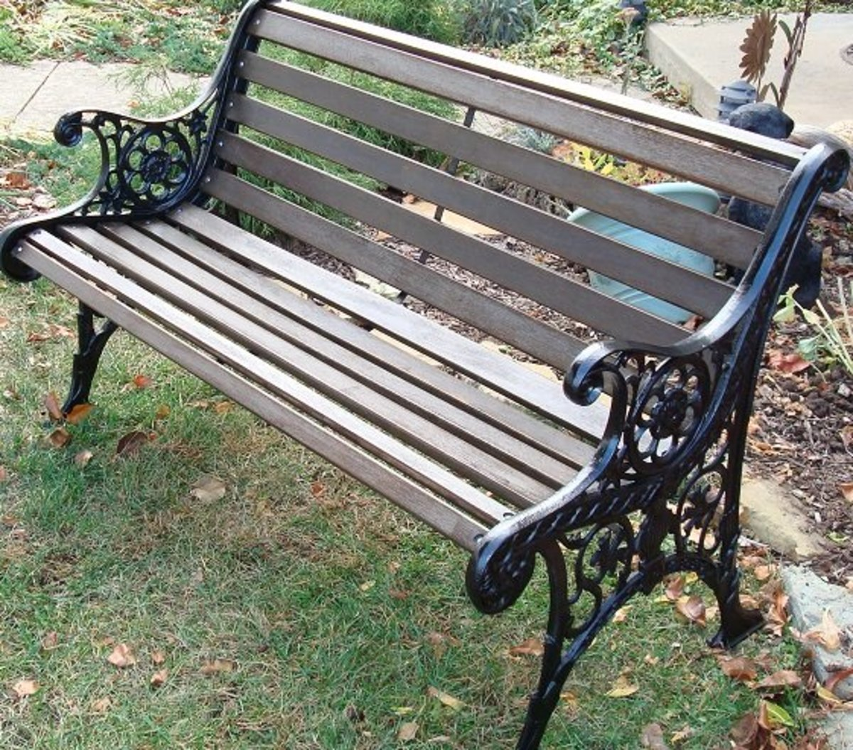 wood and cast iron garden bench