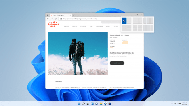 Snap Layouts help you tile windows quickly and easily