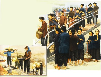 An illustration depicting the Chinese immigrants' arrival and tin miners in Malaya.