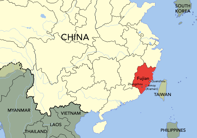 The Hokkien people came from the cities of Zhangzhou, Amoy, and Quanzhou in Fujian province.