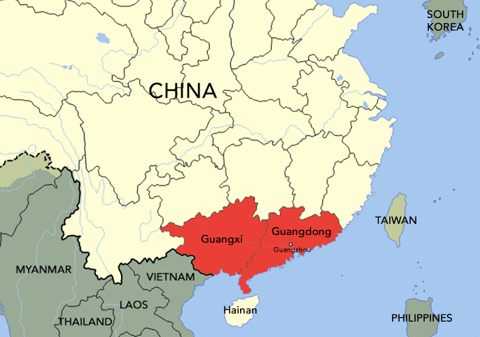 The Cantonese people came from Guangdong (particularly those from Guangzhou) and Guangxi.