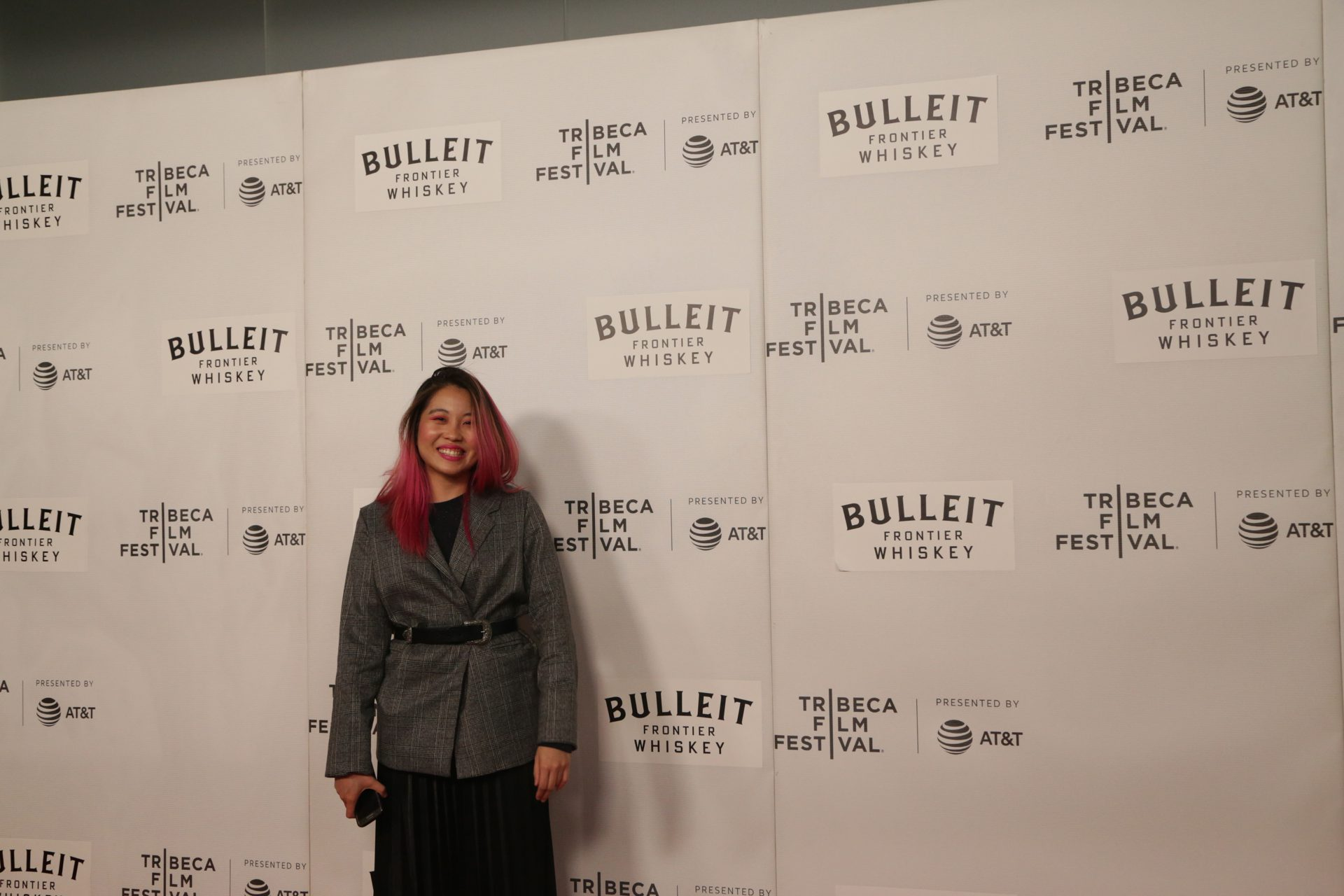 Co-Producer Cheyenne Tan at the red carpet of the 'St. Louis Superman' premiere at Tribeca Film Festival.