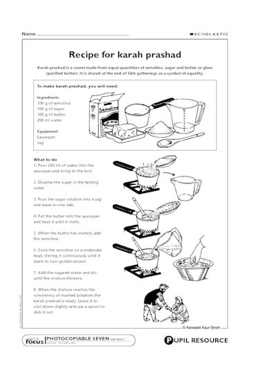 Sikhism: Recipe for karah prashad