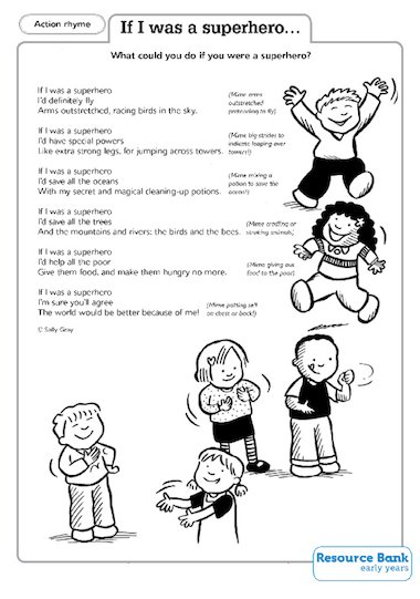 'If I was a superhero…' action rhyme poem