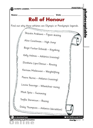 Olympics and Paralympics – Roll of Honour