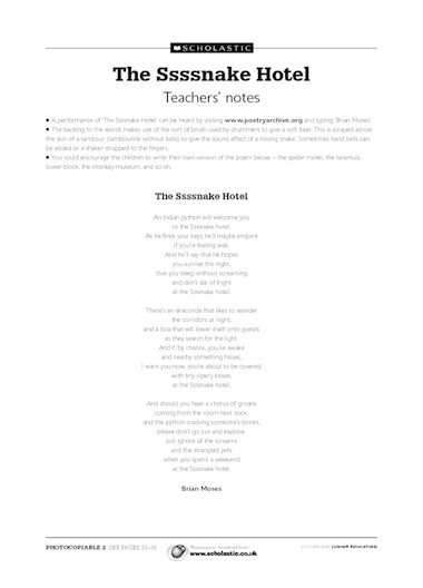 'The Ssssnake Hotel' performance poem