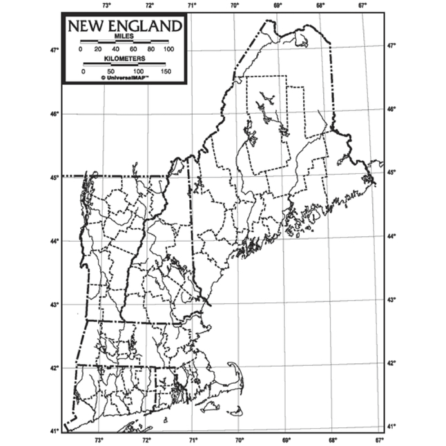 Kappa Map New England Outline Map, Paper, 8-1/2 x 11 in