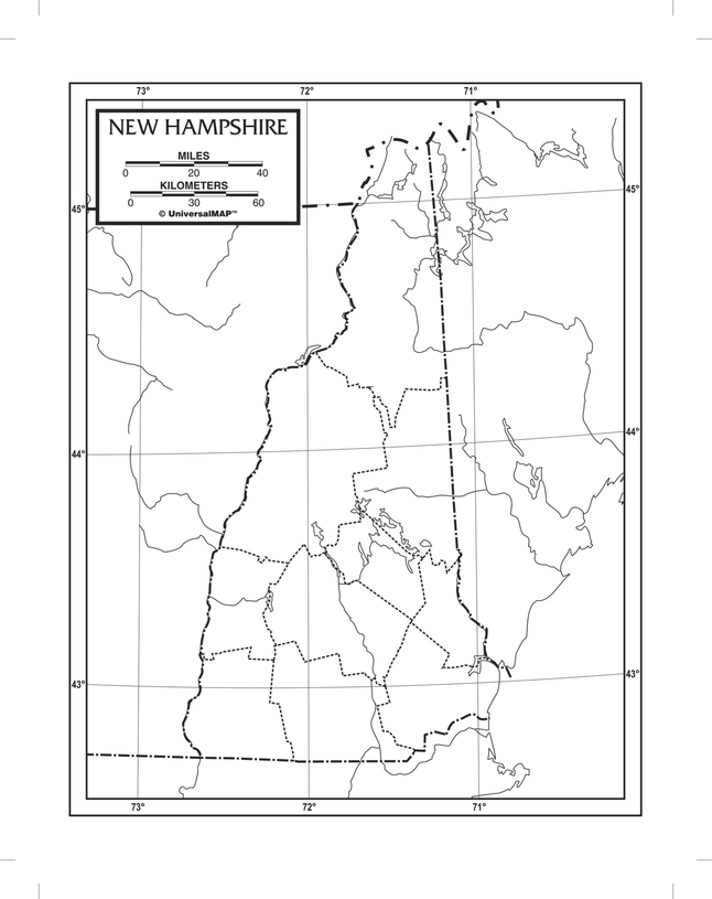 Kappa Map New Hampshire Outline Map, Paper, 8-1/2 x 11 in