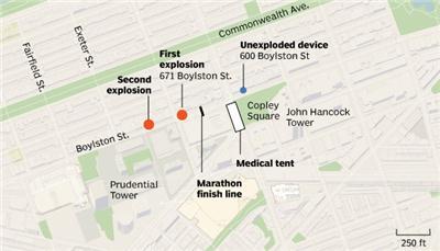 Boston Marathon bombing: where it happened