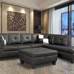 Faux Leather Sectional Sofa Nail Head Trim Black Espressoleft Right Chaise