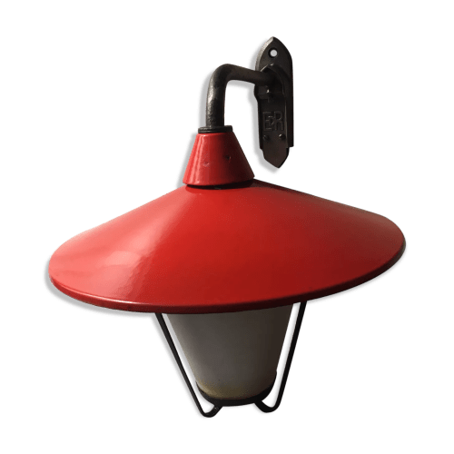 ancienne lampe de cour potence emaillee