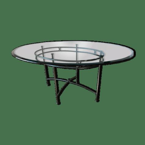 table de repas ovale en verre et fer forge