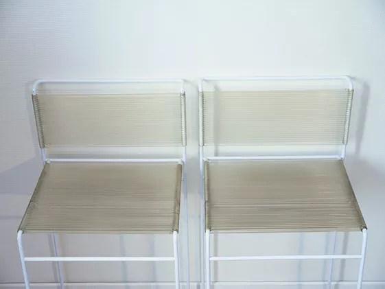 paire de tabourets de bar fly line design g belotti edition cmp italy annees 70 selency