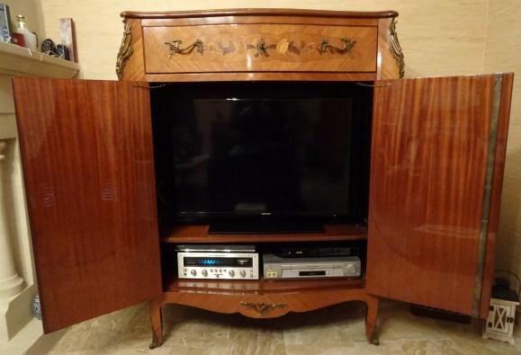 meuble tv hi fi style louis xv en bois de rose