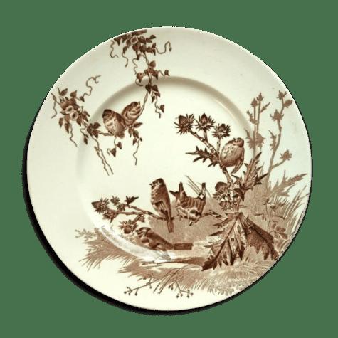assiette terre de fer art nouveau signee creil montereau chardonneret