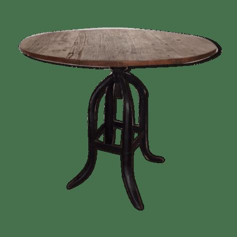 table ronde de sale a manger en bois fer forge selency