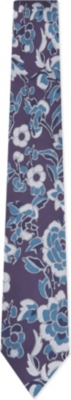 TED BAKER - Abstract floral mulberry silk tie | Selfridges.com