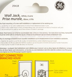 ge phone jack wall mount plate telephone outlet 6 wire conductor rj11 rj12 white [ 1200 x 1200 Pixel ]