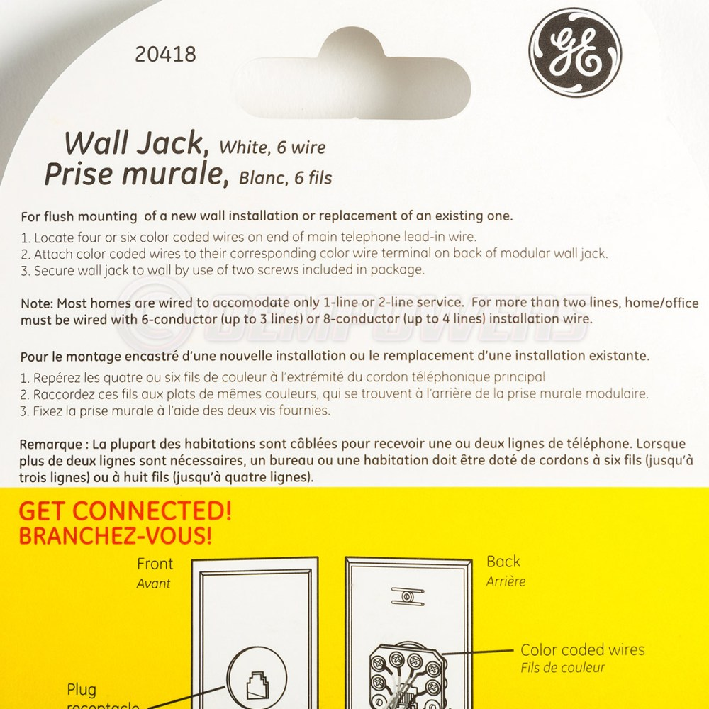 medium resolution of ge phone jack wall mount plate telephone outlet 6 wire conductor rj11 rj12 white