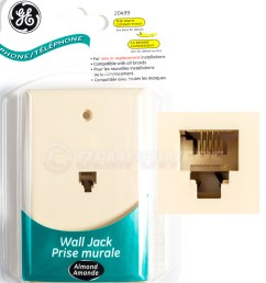 details about ge phone jack wall mount plate telephone outlet 4 wire conductor rj11 almond new [ 1200 x 1200 Pixel ]