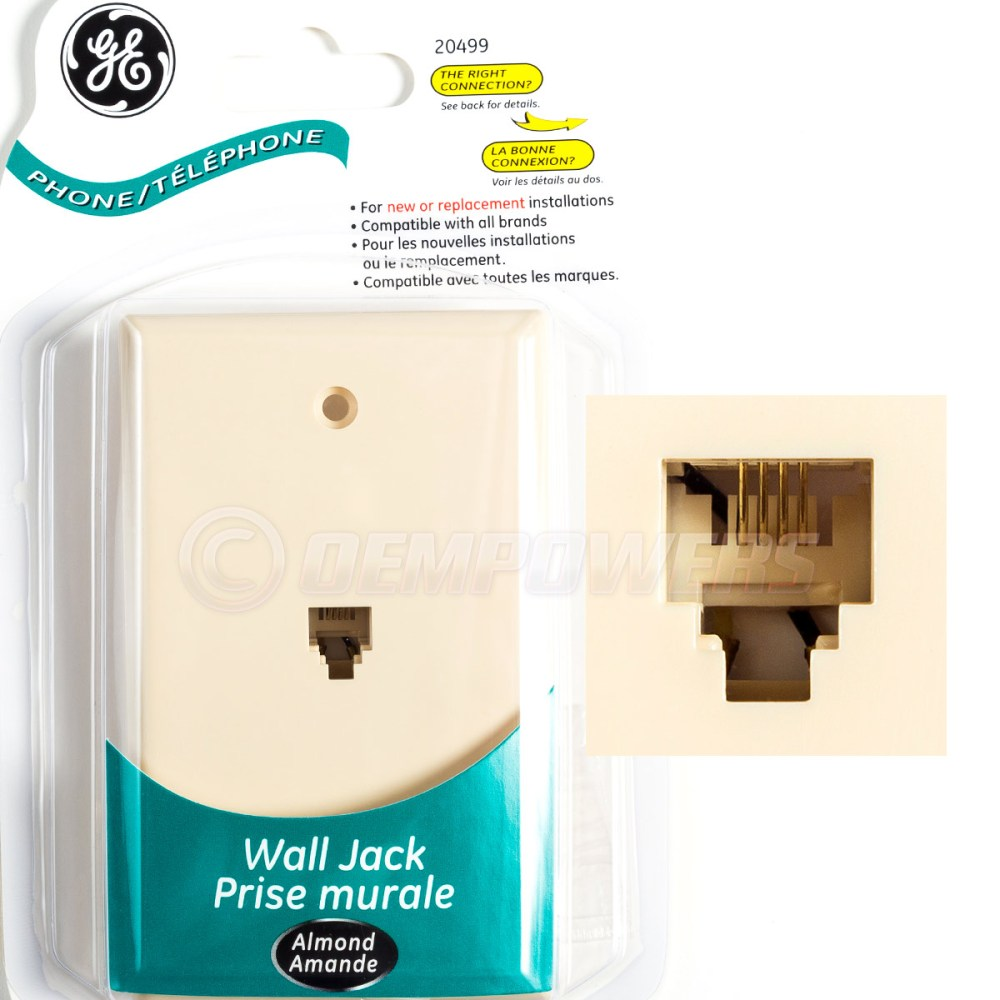 medium resolution of details about ge phone jack wall mount plate telephone outlet 4 wire conductor rj11 almond new