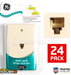 24 ge phone jack wall mount plate telephone outlet 4 wire conductor rj11 almond [ 1200 x 1200 Pixel ]