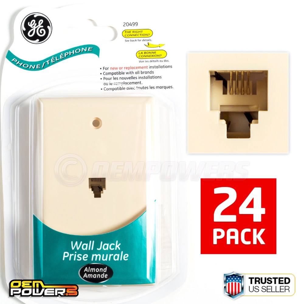 medium resolution of 24 ge phone jack wall mount plate telephone outlet 4 wire conductor rj11 almond