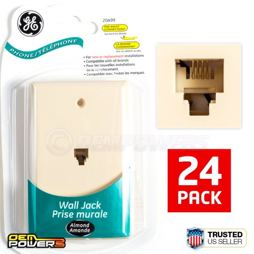 small resolution of 24 ge phone jack wall mount plate telephone outlet 4 wire conductor rj11 almond