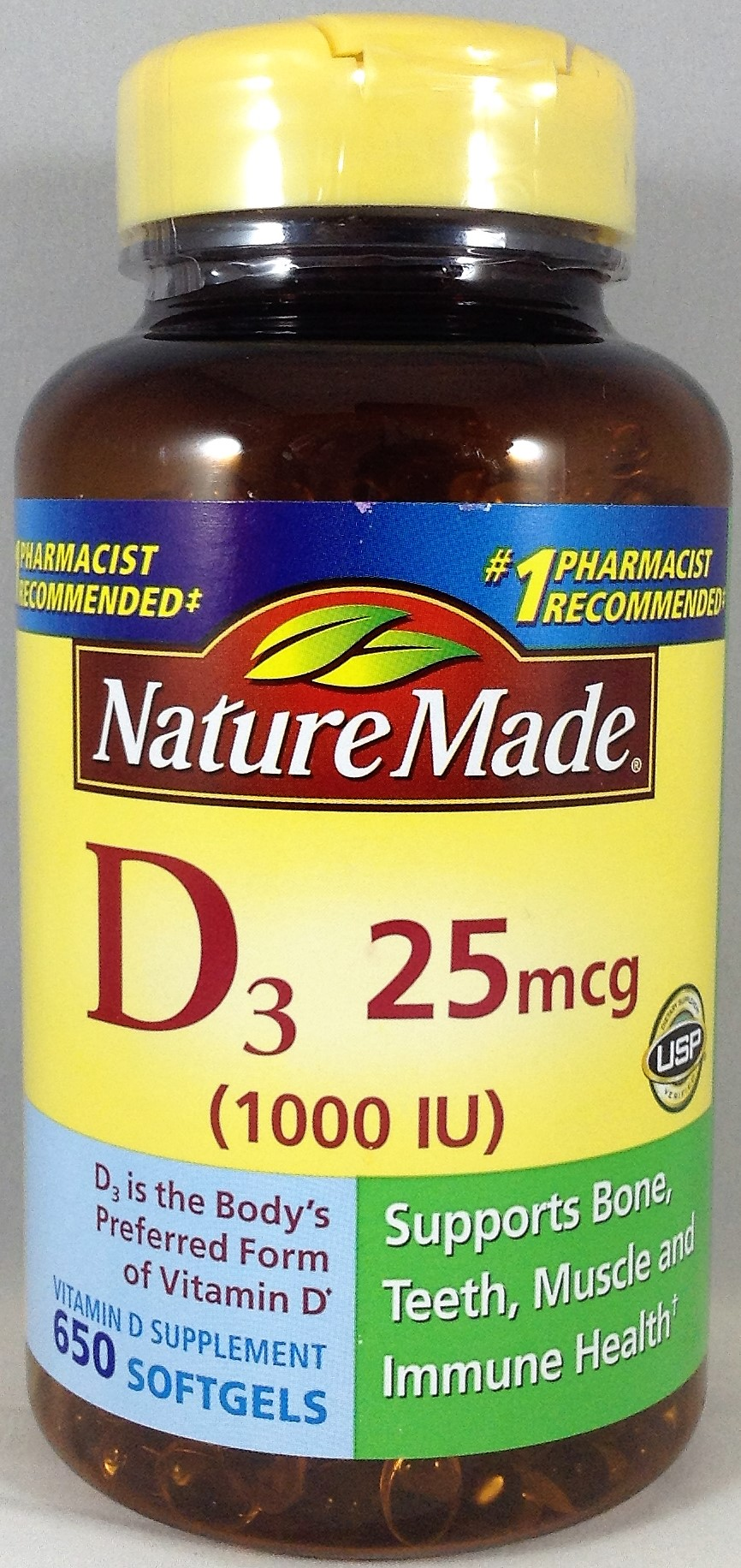 Nature Made Vitamin D3, 25 mcg (1000 IU) - 650 Softgels ...
