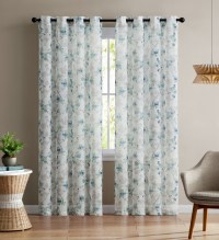 Single Teal and White Sheer Curtain Panel: Grommets ...