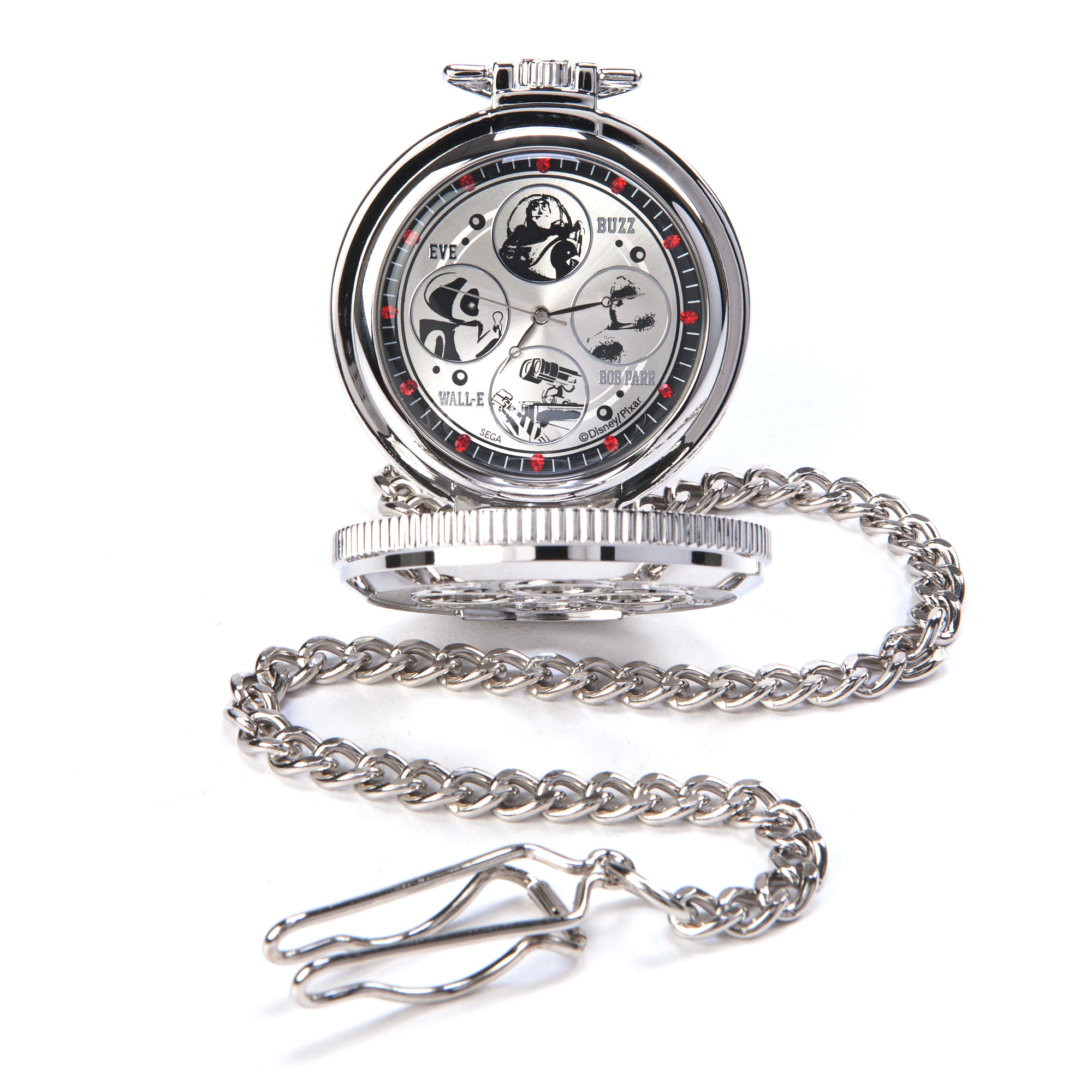 Disney Pixar Red Rhinestone Characters Pocket Watch