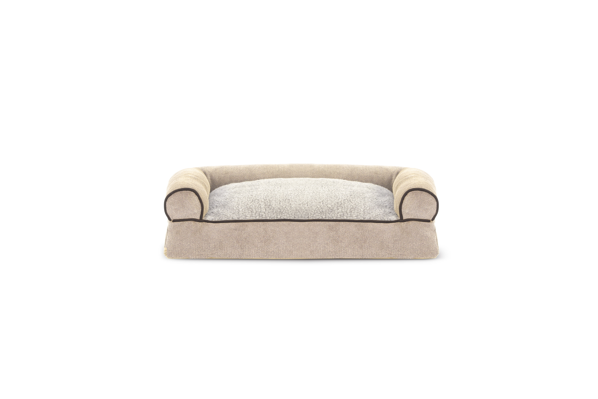 soft sofa dog bed dark brown leather with grey walls faux fleece and chenille woven pillow pet