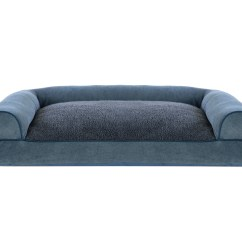 Soft Sofa Dog Bed Large Tables Faux Fleece And Chenille Woven Pillow Pet