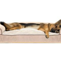 Soft Sofa Dog Bed Armen Living Barrister Caramel Velvet Faux Fleece And Chenille Woven Pillow Pet