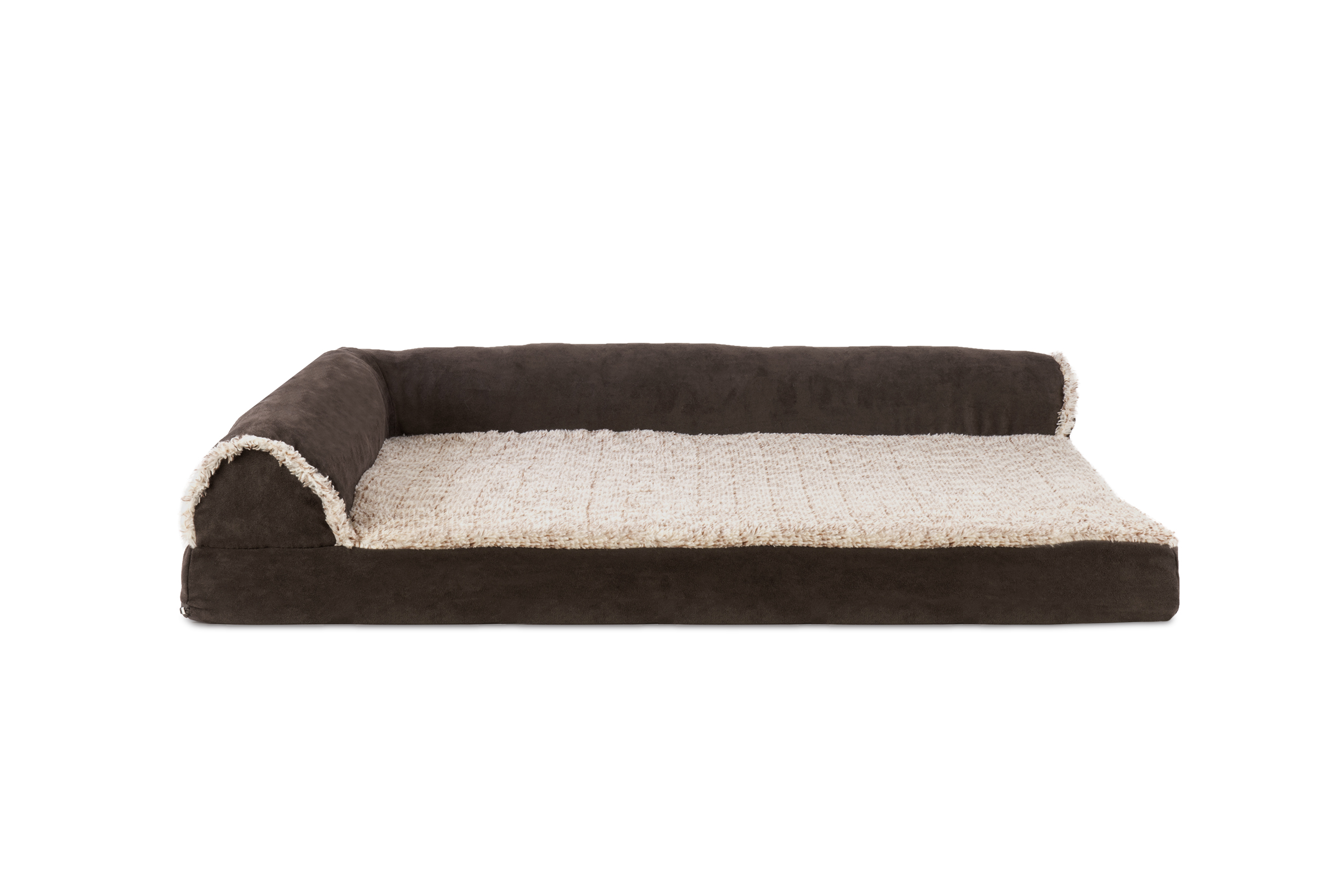 orthopedic sofa find sofas for sale two tone faux fur and suede deluxe chaise lounge