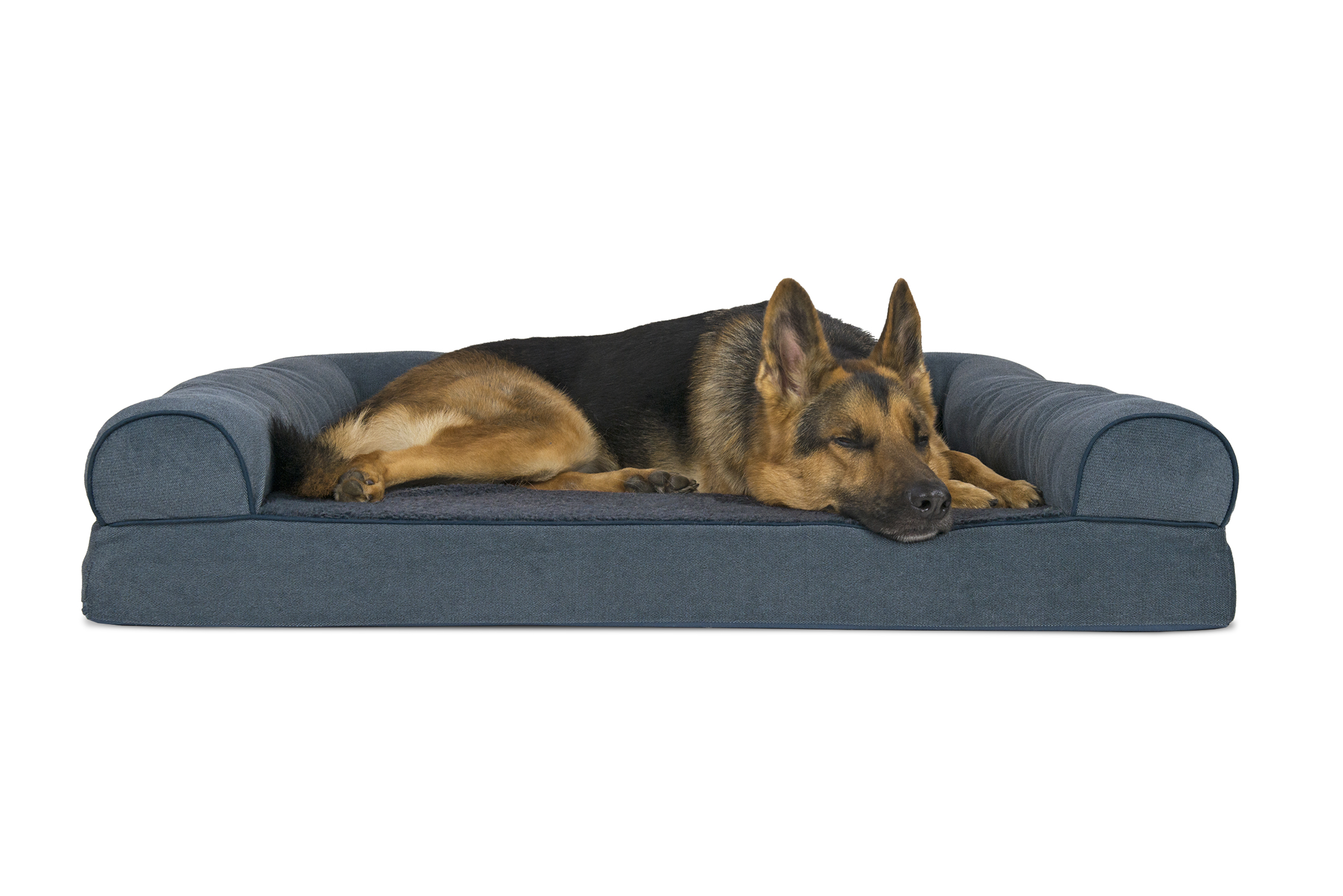 soft sofa dog bed velvet tufted sectional faux fleece and chenille woven orthopedic pet