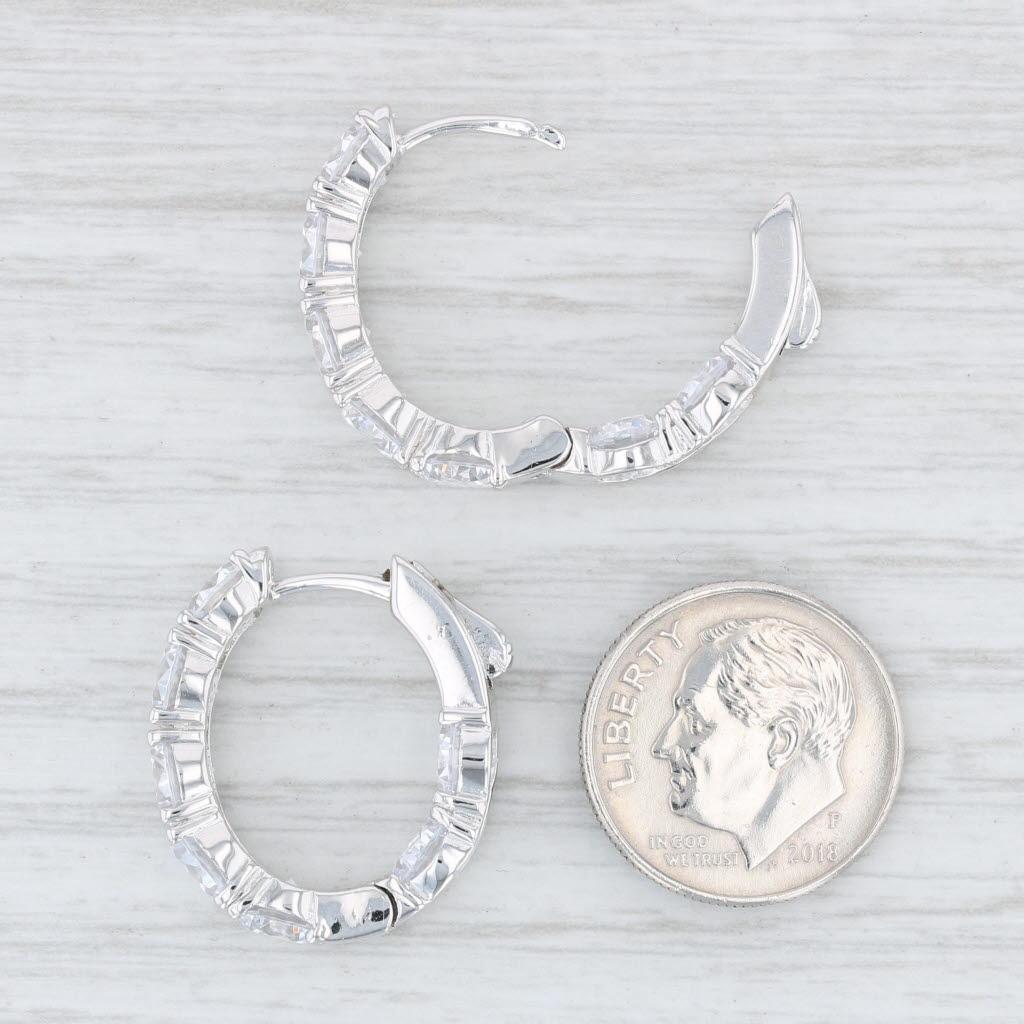 Cubic Zirconia Inside-Out Hoop Earrings Sterling Silver