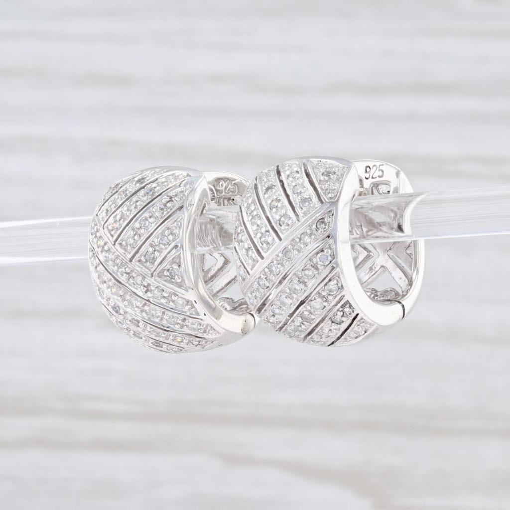 Diamond Cross Hatch Hoop Huggie Earrings Sterling Silver