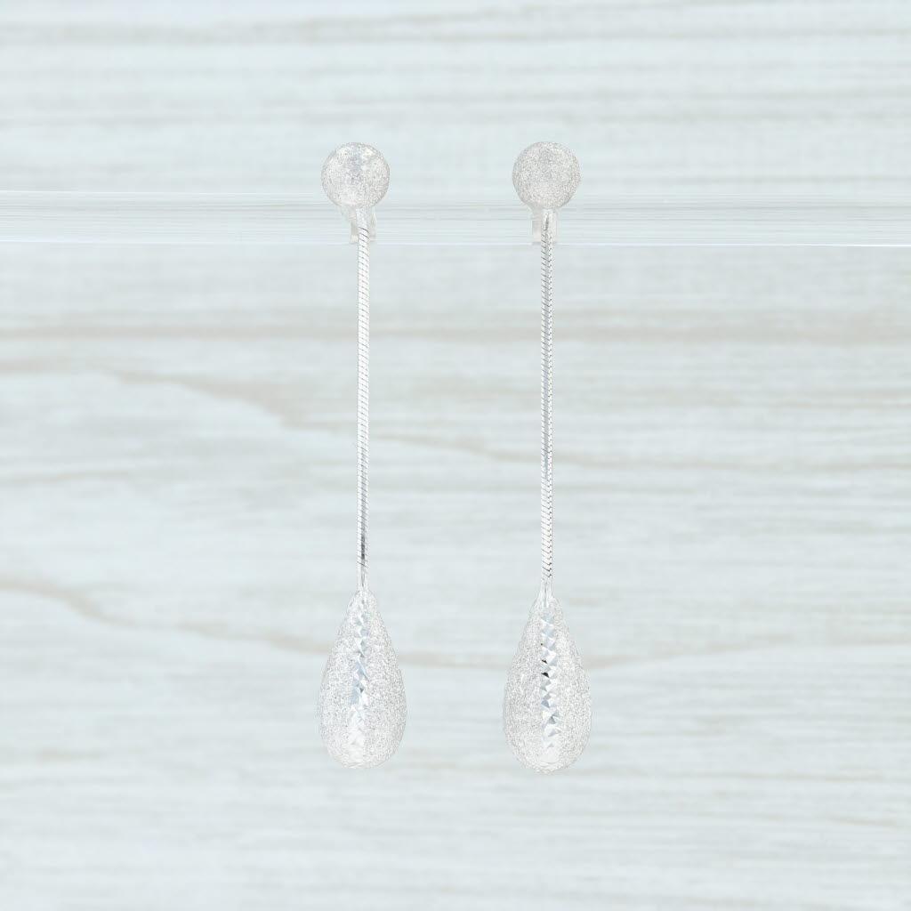 Shimmering Teardrop Dangle Earrings 14k White Gold Pierced