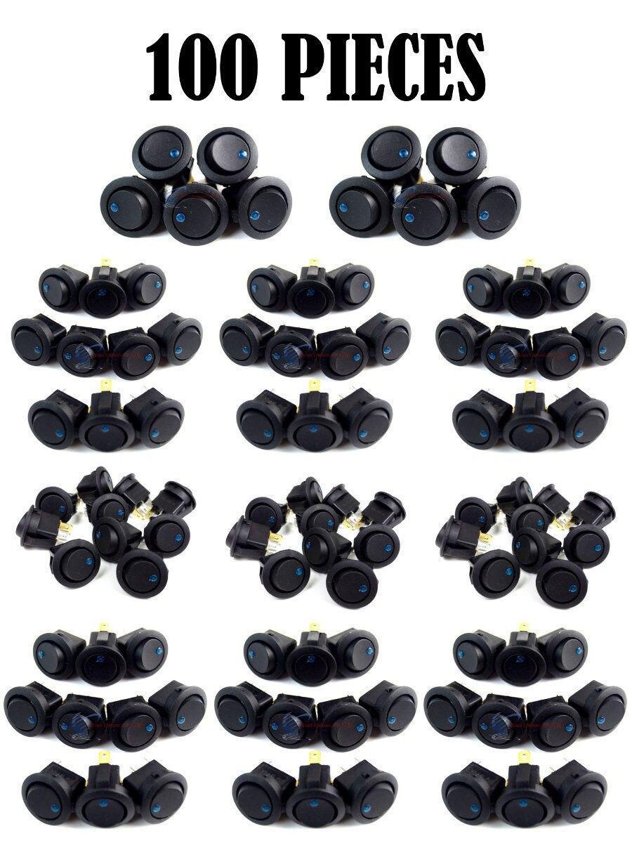 100 PCS Black Round Rocker Blue LED Dot Light Car Auto