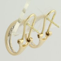 Diamond J-Hook Earrings - 14k Yellow Gold Pierced Omega ...