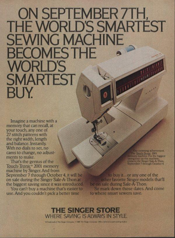 1980 Singer Sewing Machine : singer, sewing, machine, Singer, Sewing, Machines, Vintage, Magazine, Touch-Tronic