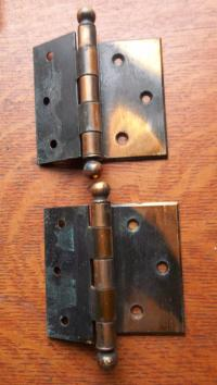 Two Victorian Antique Copper-Flashed Offset Door Hinges ...